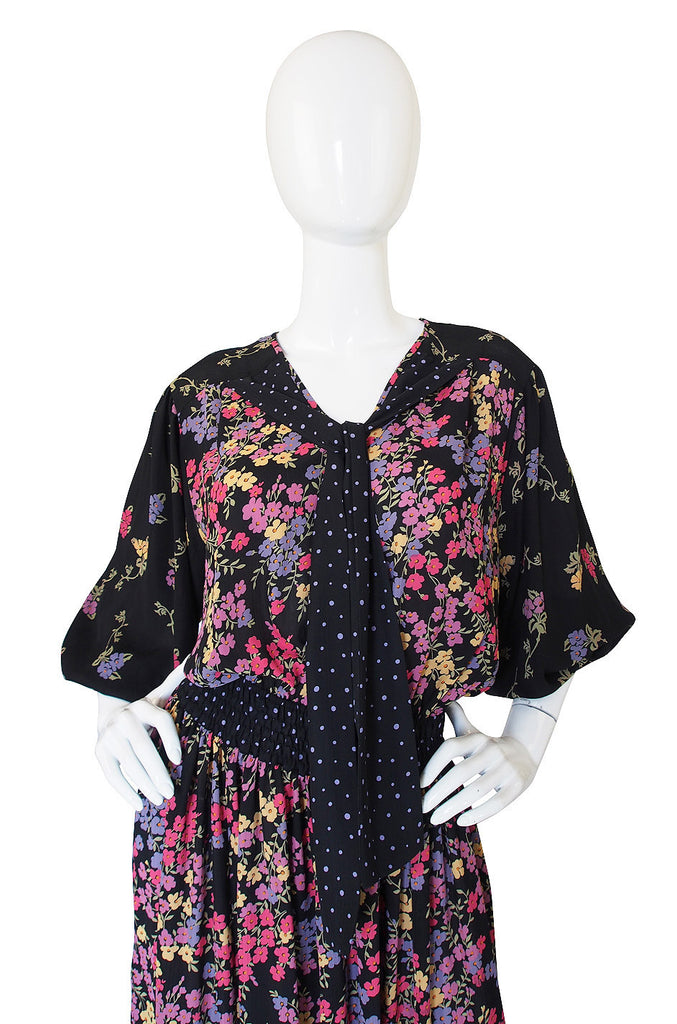 1970s Diane Freis Print Georgette Dress