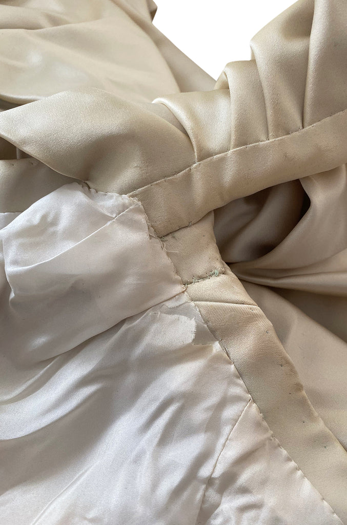 1980s Jacqueline De Ribes Ivory Silk Satin Dress w Amazing Sleeves