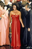 Iconic c1976 Halston Strapless Tie Front Sarong Red Jersey Dress