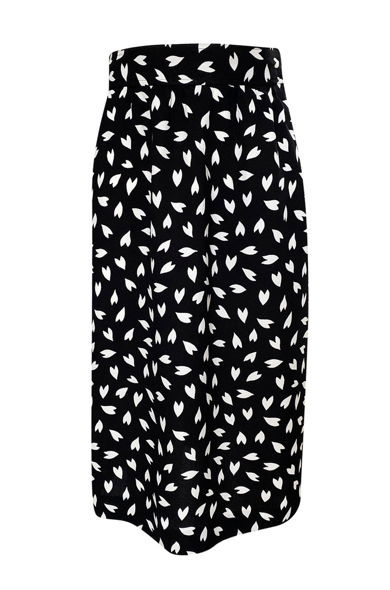Fall 1982 Yves Saint Laurent Heart Print Black & White Suit Set