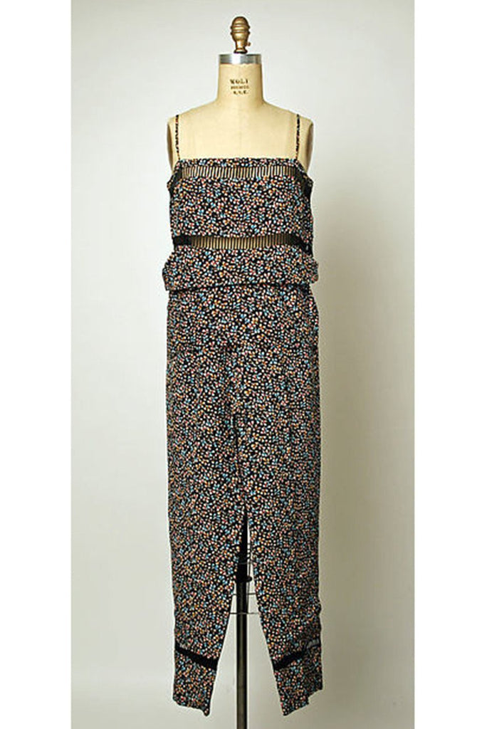 c.1978 Unlabeled Christian Dior Haute Couture Silk Dress w Floral Belt