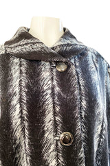 1960s La Mendola Grey Toned Feather Print Dress Cape & Turban Set