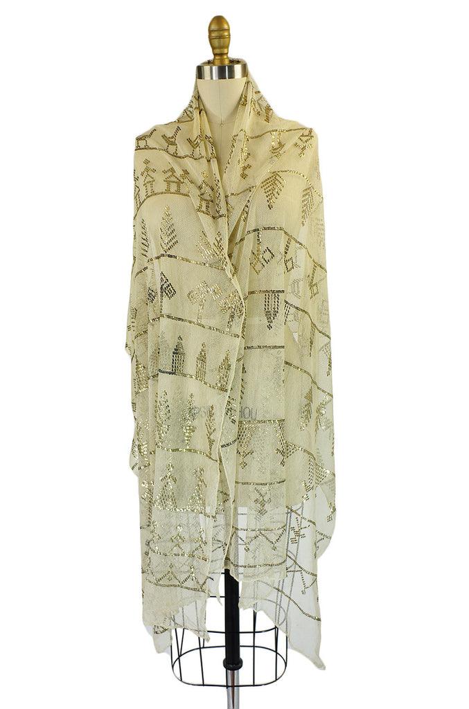 1920s Assuit Scarf with Figures & Trees