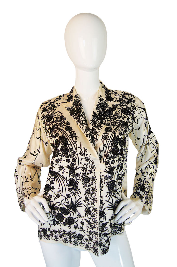 1920s B & W Embroidered Silk Jacket