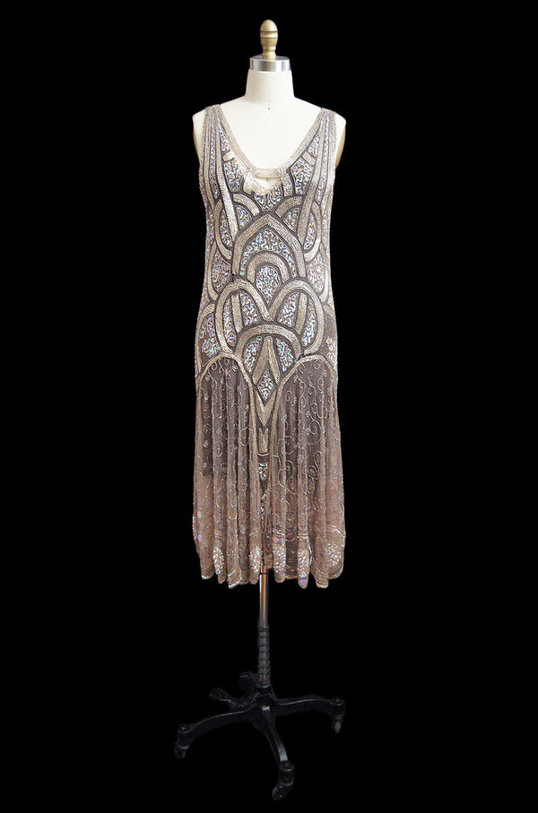 1920s Bead & Sequin Rose Gold Flapper