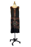 1920s Metallic Beaded Black Silk Flapper