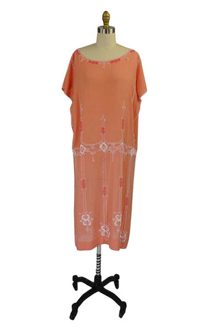 1920s Bead Cotton French Flapper Dress