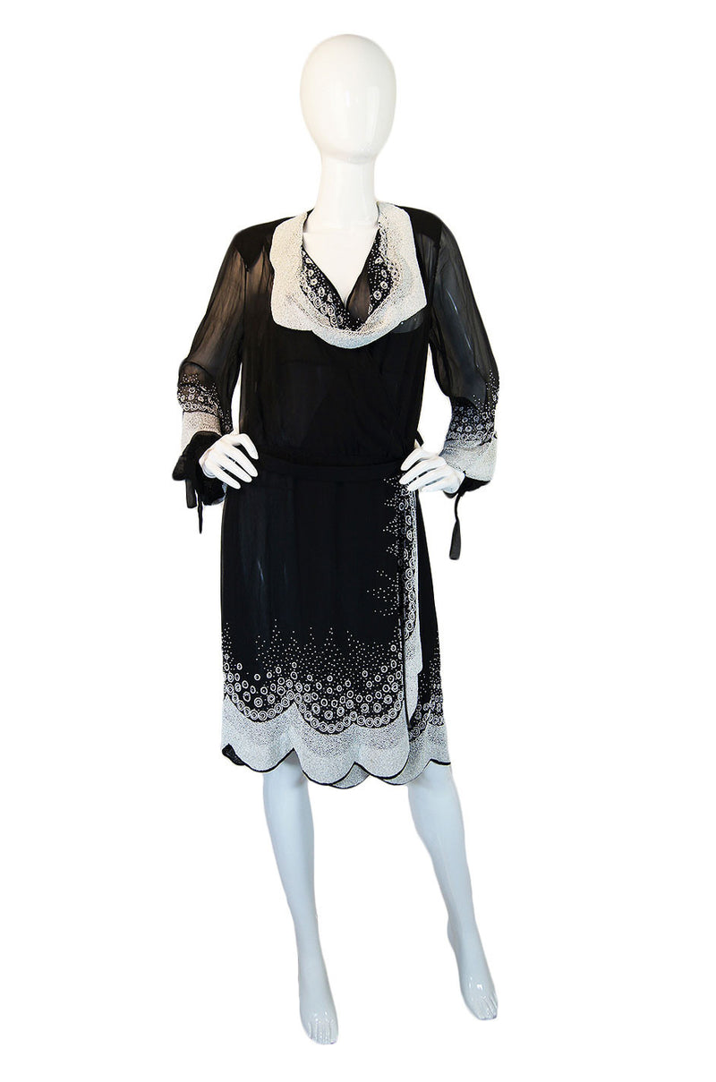 1920s Beaded Chiffon Couture Flapper