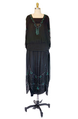 1920s Black & Green Beaded Silk Flapper