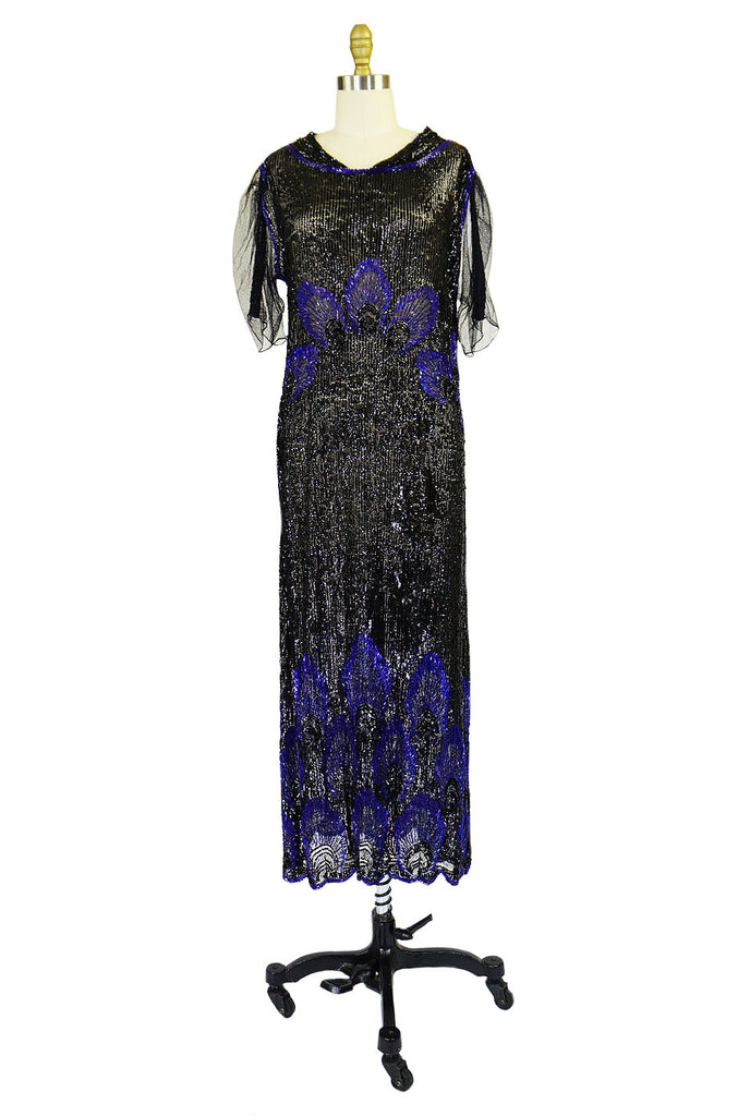 1920s Blue Peacock Sequin Flapper Dress