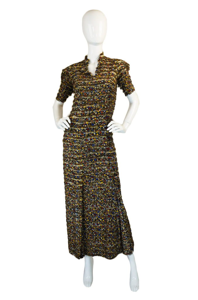 1930s Silk Floral Fringe Swing Dress