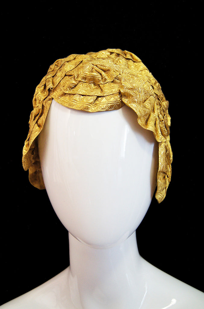 1920s Gold Ribbon Boudoir Flapper Cap