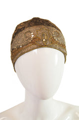 1920s Gold Lame Embroidery Flapper Cap
