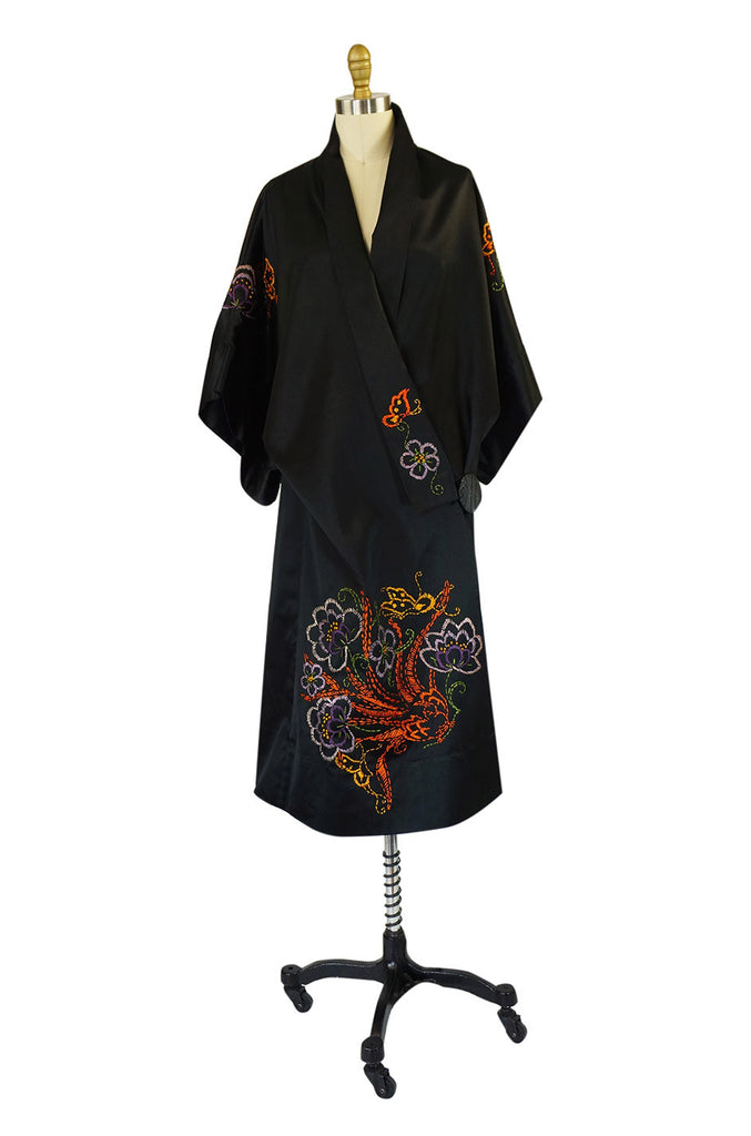 1920s Embroidered Silk Flapper Robe