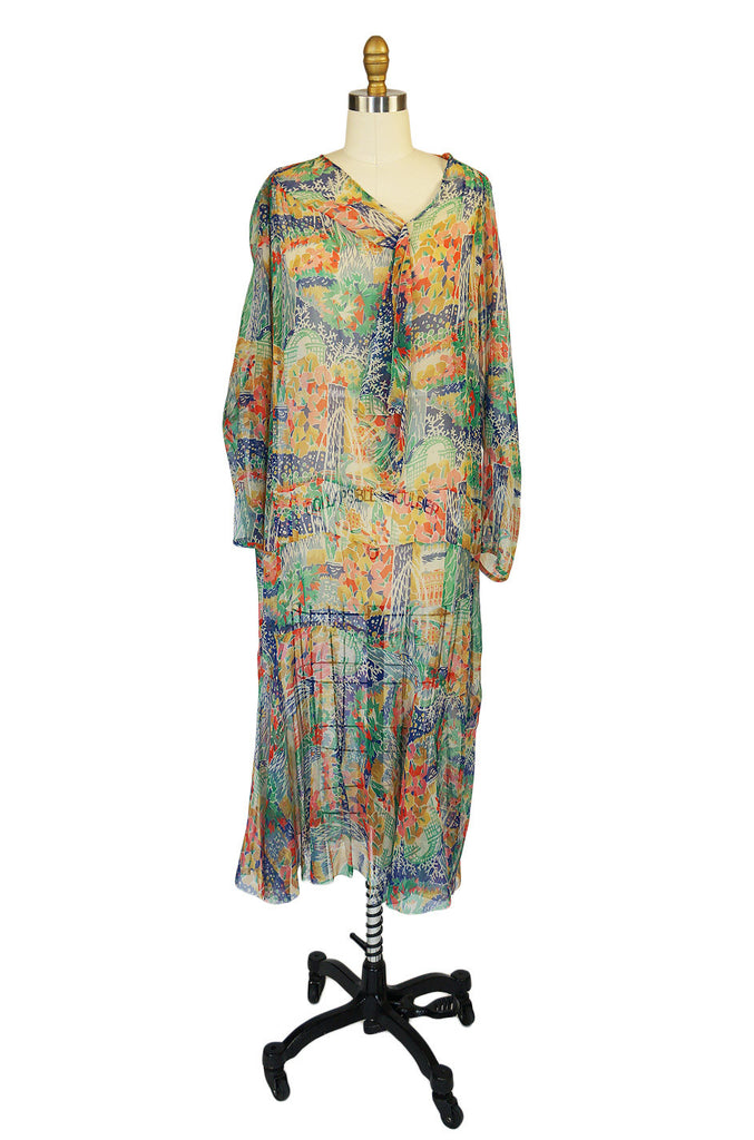 1920s Pretty Print Silk Chiffon Dress