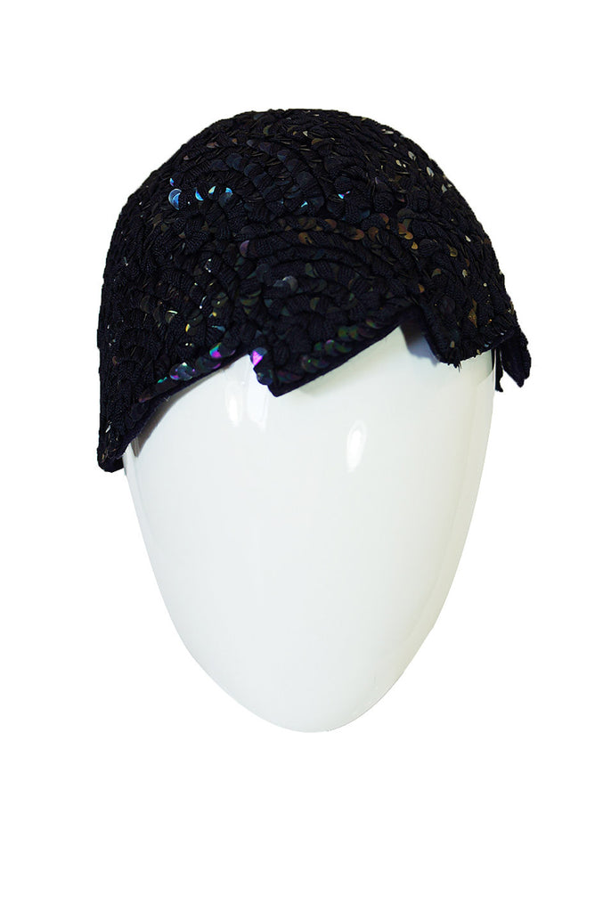 1920s Sequin Deco Felt Flapper Cap