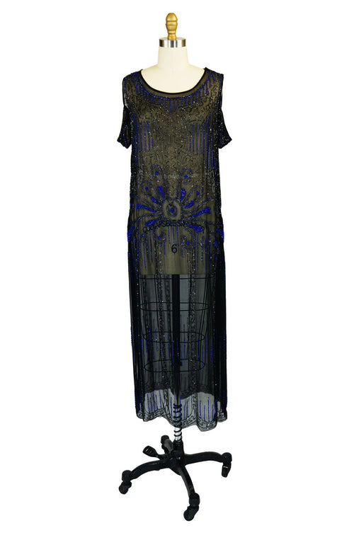 1920s Silk Blue Beaded Flapper Dress