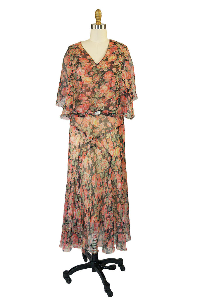 1920s Silk Chiffon Bias Cut Day Dress