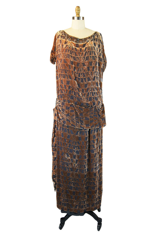 1920s Lrgr Silk Devore Beaded Flapper