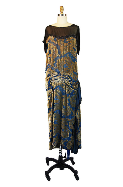 1920s Blue Silk Devore Beaded Flapper