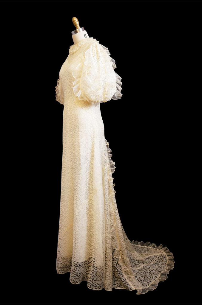 1930s Fine Lace & Ruffle Wedding Gown