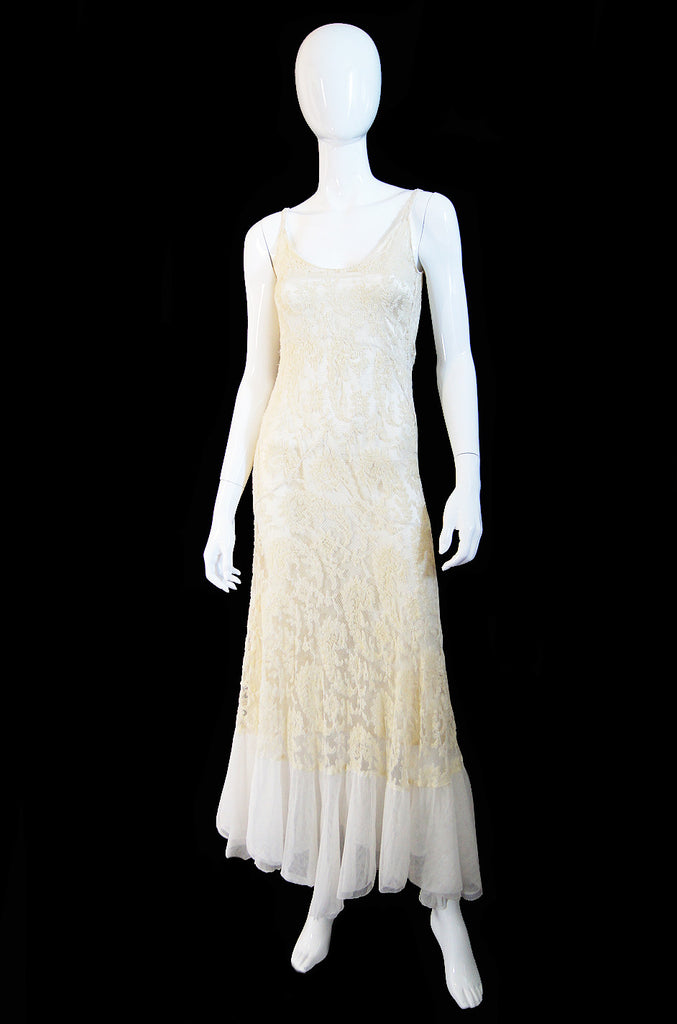 1930s Silk Yarn & Netting Bias Cut Gown