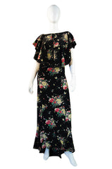 1930s Bias Cut Silk Ruffle Gown