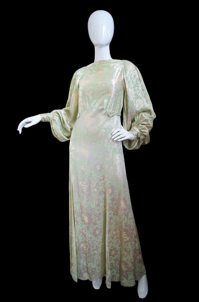 1930s Bias Cut Silk Satin Floral Gown