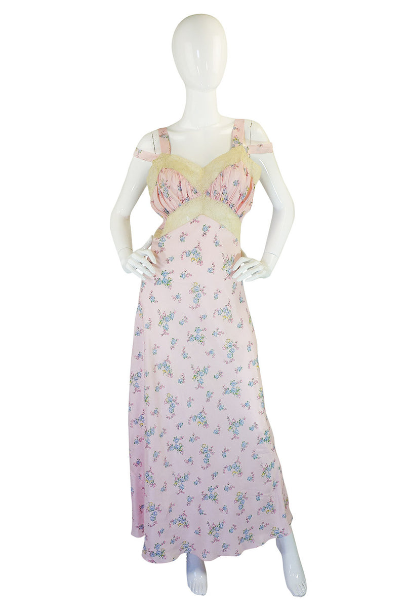 1930s Pink Silk and Lace Night Gown
