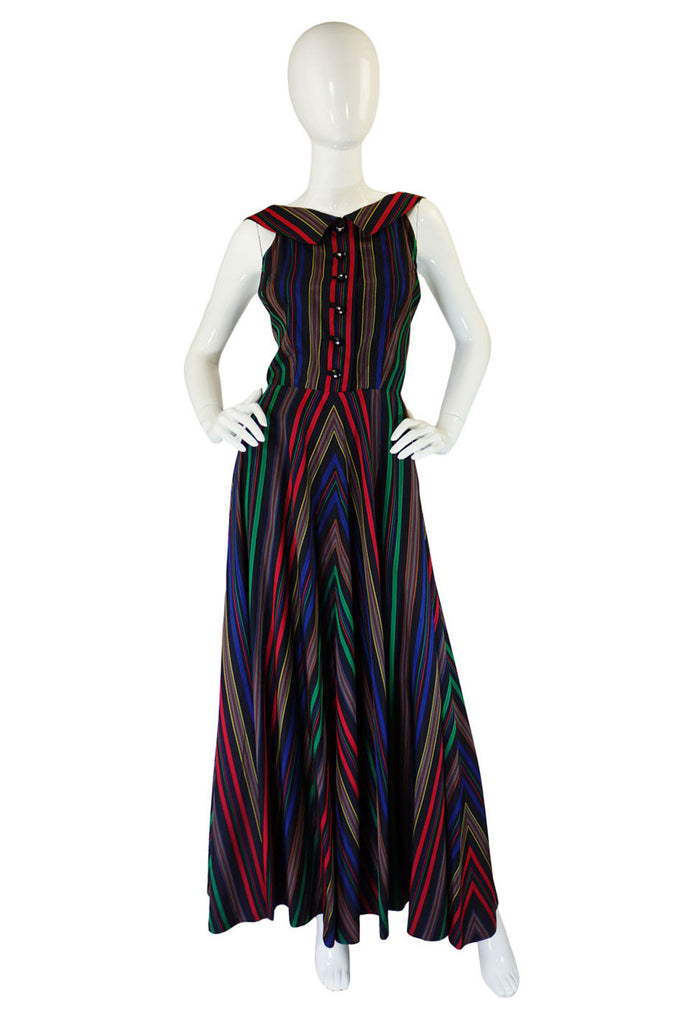 1940s Striped Silk Low-back Halter Gown