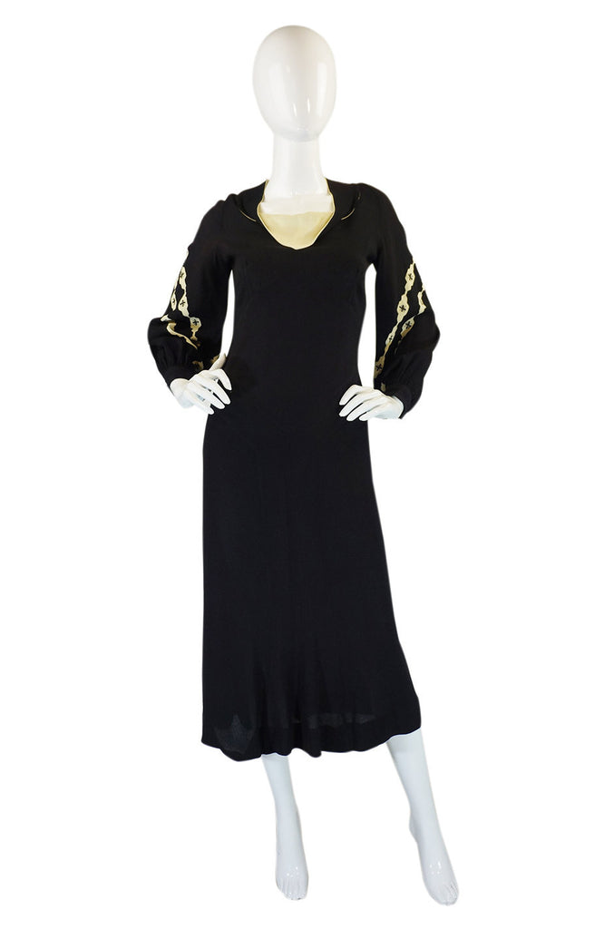 1940s Amazing B&W Crepe Swing Dress