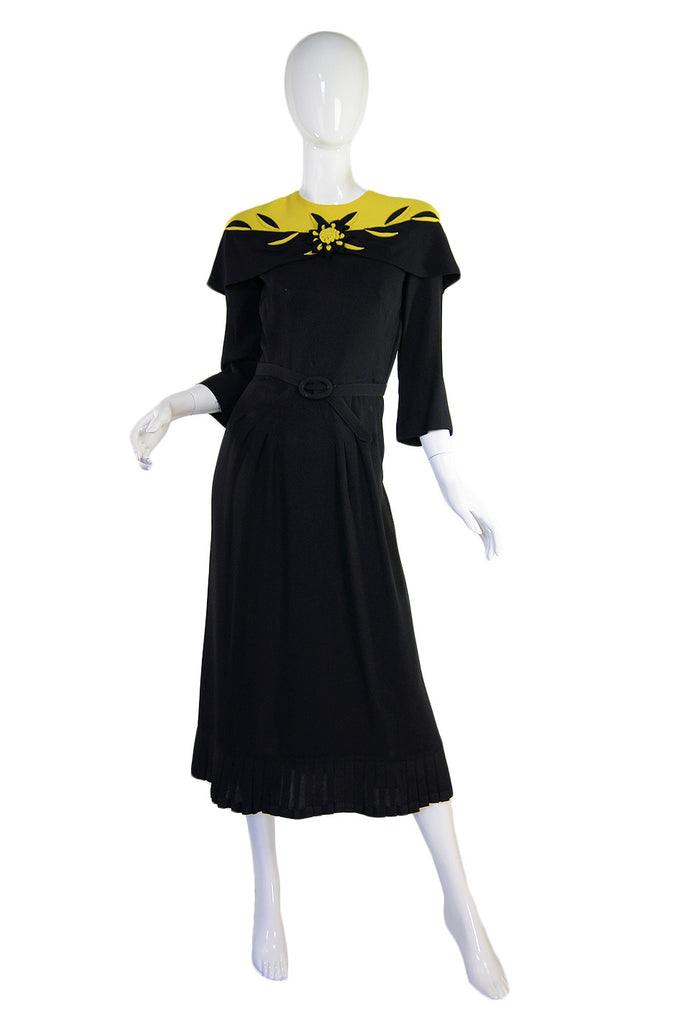1940s Dramatic Silk Crepe Swing Dress