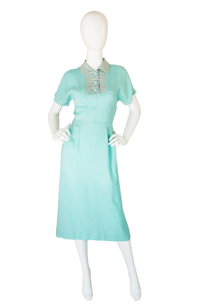 1940s Blue Striped Collar Day Dress