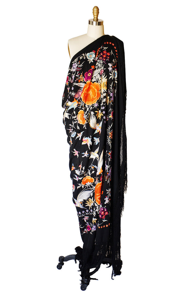 1920s Silk Embroidered Piano Shawl