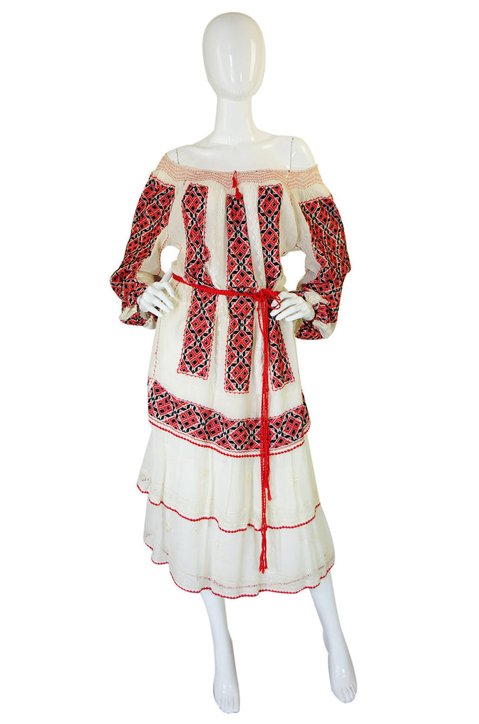 1940s Embroidered Hungarian Dress