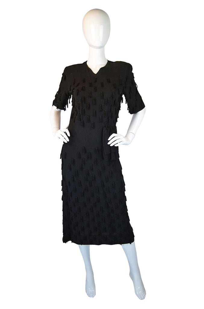 1940s Unusual Fringe Detail Midi Dress