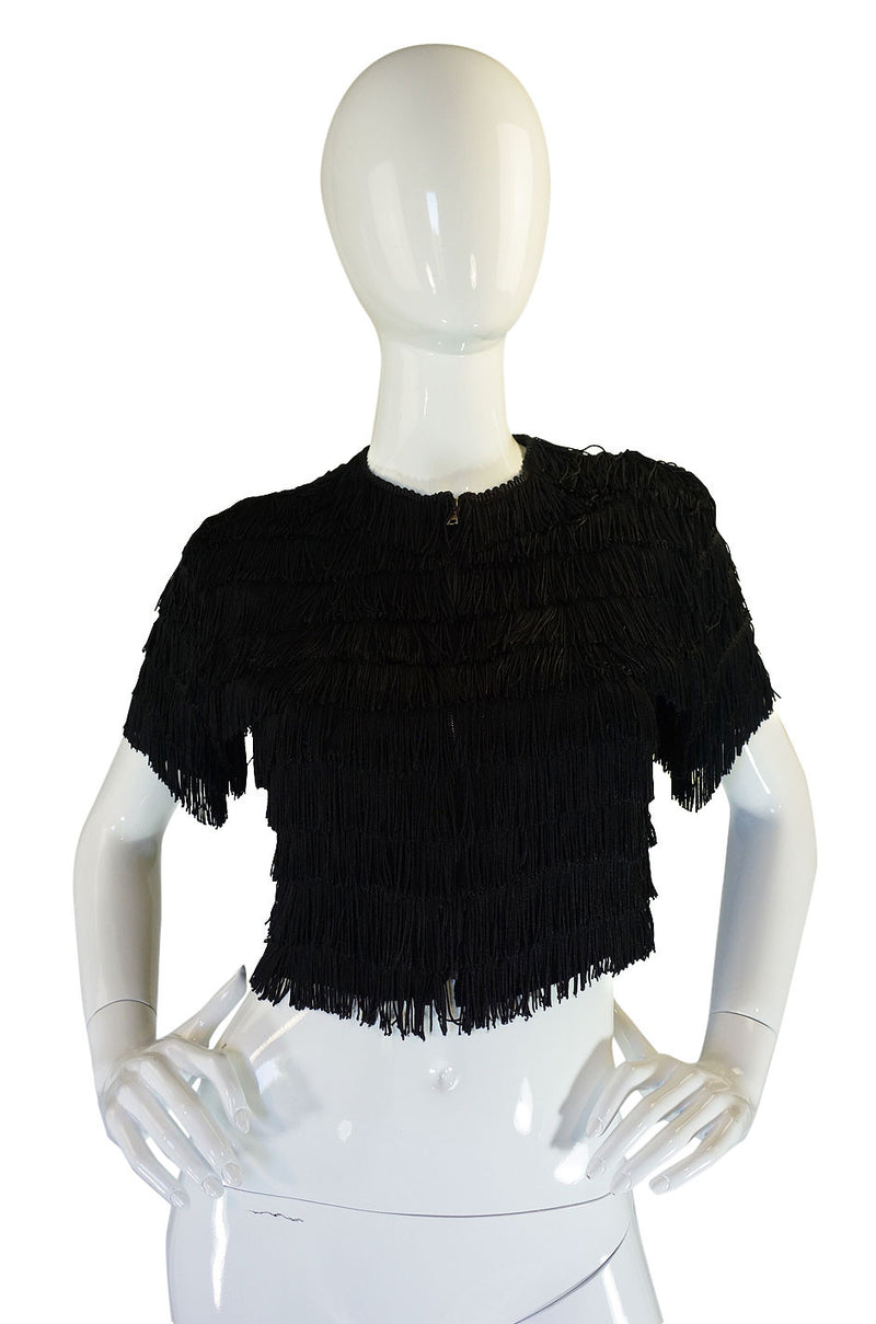 1940s Completely Fringed Silk Crepe Top