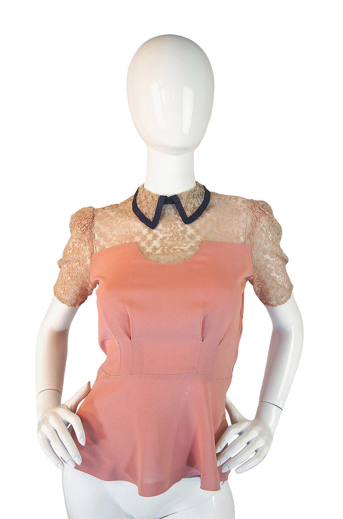1940s Exceptional Pink & Netting Top