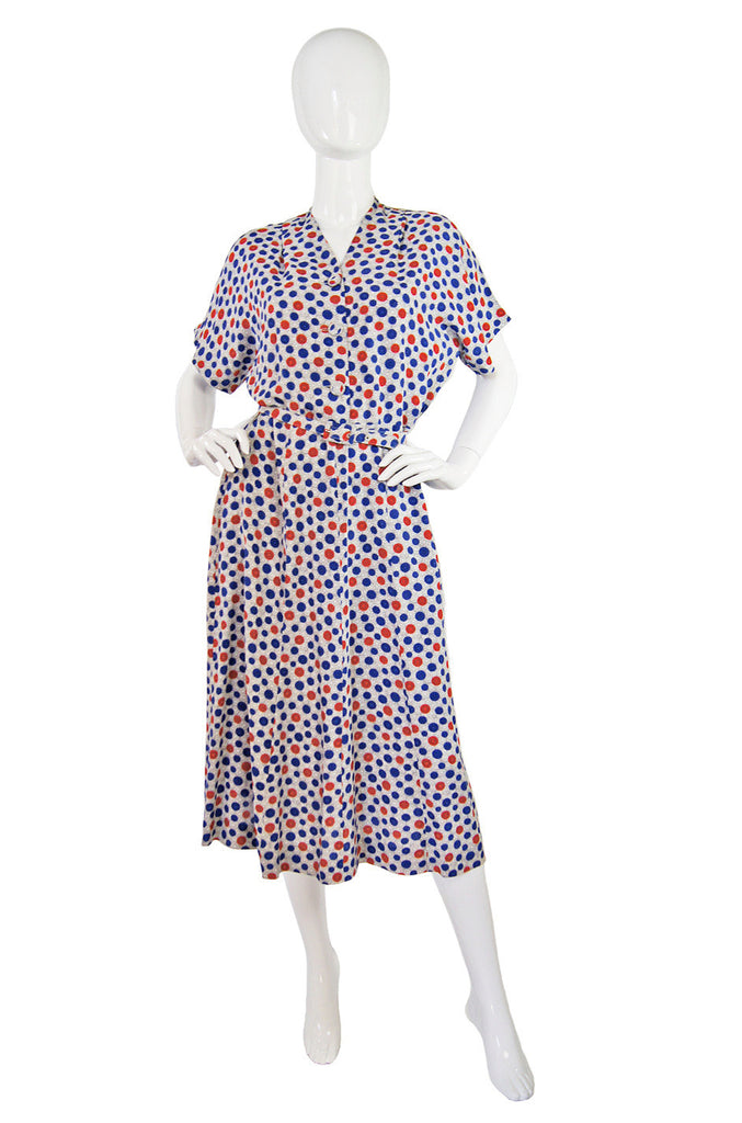 1940s Dotted Day Novelty Swing Dress