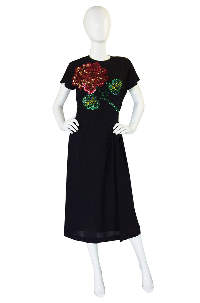 1940s SIlk & Sequin Flower Swing Dress