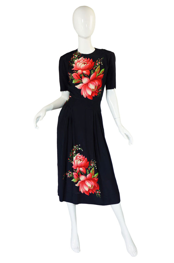 1940s Silk Dress with Huge Floral Print