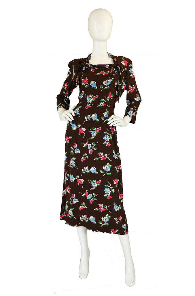 1940s Tiered Silky Rayon Swing Dress