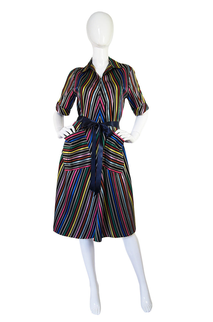 1940s Morsam Multi Color Striped Dress