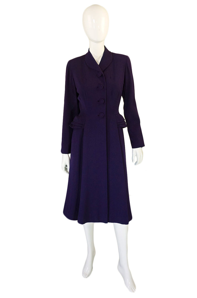 1940s Tailored Peplum Hip Swing Coat