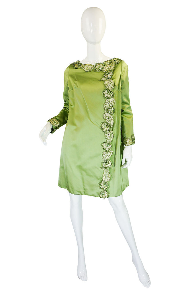 1950s Beaded Edge Green Coat Dress