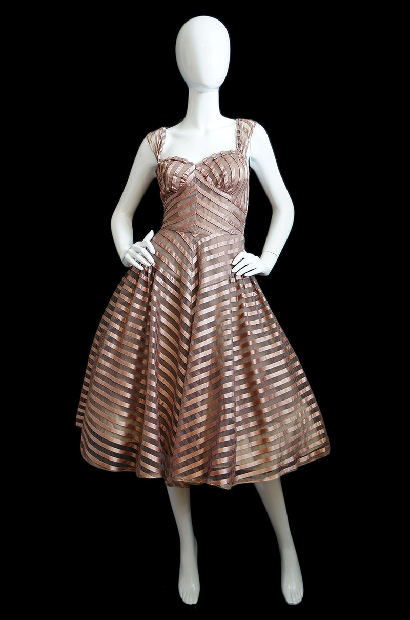 1950s Blush Silk Ribbon & Net Dress