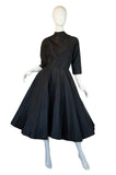 1950s Blue Dot Silk Taffeta Dance Dress