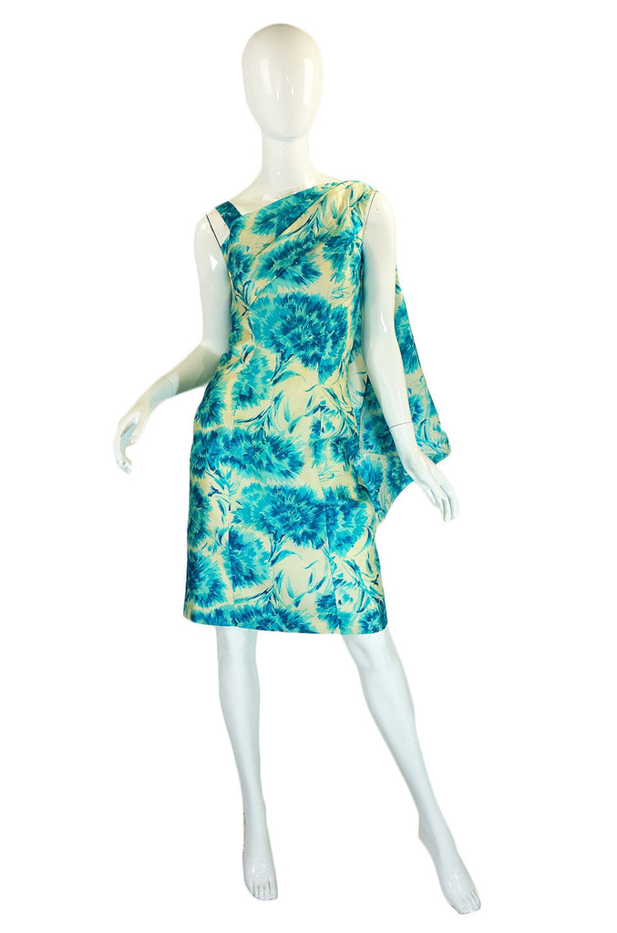 1950s Blue Print Draped Silk Wiggle Dress