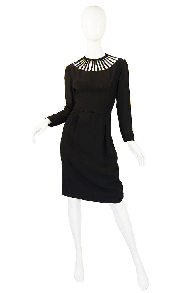 1950s Cage Neck Black Wiggle Dress