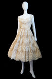 1950s Couture Jaques Fath Lace Dress